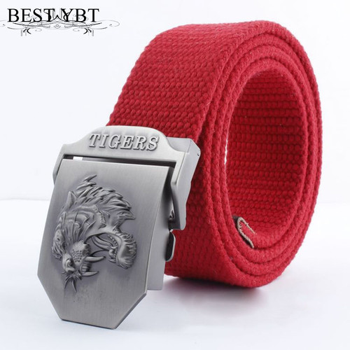 Best YBT Real Striped Adult casual Fashion Unisex tiger Leather Belt Canvas Belt Man Alloy Automatic Buckle Strap Knitted Belt