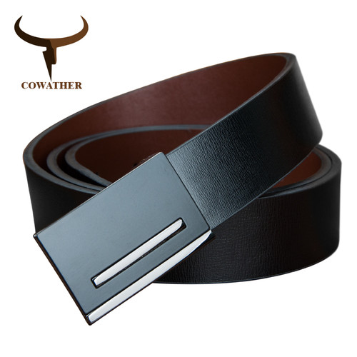 COWATHER 2017 good quality men cowskin genuine leather belts for men cintos metal plate buckle strap male belt real leather