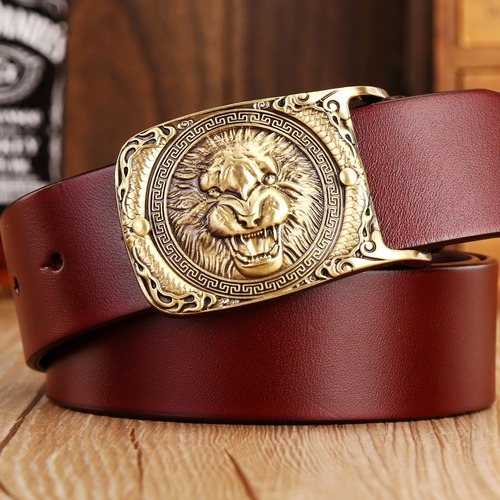 2018 new hot designer belts men high quality solid brass buckle luxury 100% real full grain genuine leather lion ceintures eagle