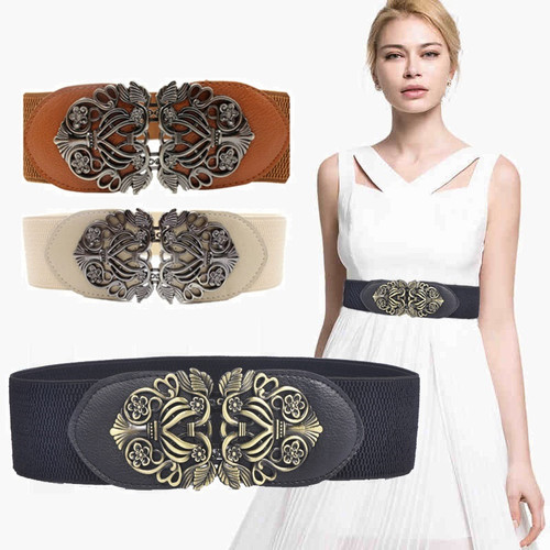 women belts vintage metal Hollow flower buckle elastic wide belts & cummerbunds wedding designer waist belt
