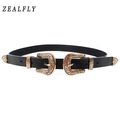 Carved Double Metal Pin Buckle Women Belts Vintage High Quality Brand Designer Belt Jeans Genuine Leather Belt for Woman Strap