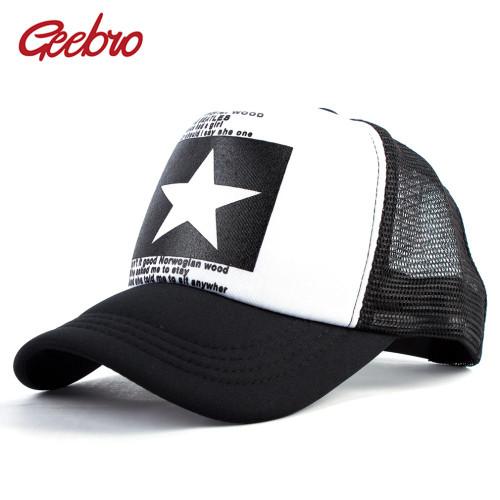 Geebro 2018 Summer Star Snapback Baseball Cap Men Sunshade Mesh Net Hat Women Casual Advocate Sports Sun Visor Caps bone gorras