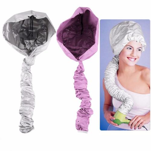 Comfortable Home Portable Salon Hair Dryer Cap Soft Hood Bonnet Attachment Haircare Large Bouffant Lightweight Caps Silver Pink
