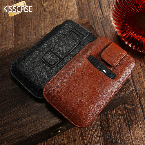 KISSCASE Universal Leather Wallet Belt Clip Pouch Phone Case For Iphone 5 5S 6 6S Plus Samsung Galaxy S7 S6 S6 Edge Plus Cover