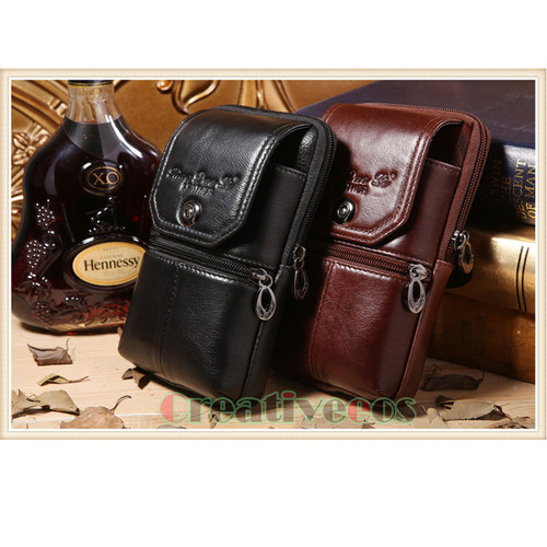 2018 New Men Genuine Leather Vintage Travel Cell/Mobile Phone Cover Case Hip Belt Bum Purse Fanny Pack Waist Bag Pouch