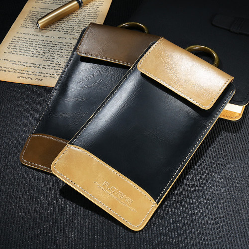 FLOVEME Retro Leather Phone Pouch Case for iPhone 8 7 plus X Case for iPhone 5s 6 6s plus Business Vintage Phone Bag Cover Capa