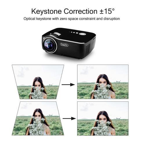Exquizon GP70 LCD 800*480 Projector (Optional Android 4.4 Bluetooth WIFI )HD 1080P 1800 lumens HDMI/VGA/USB Multimedia Player