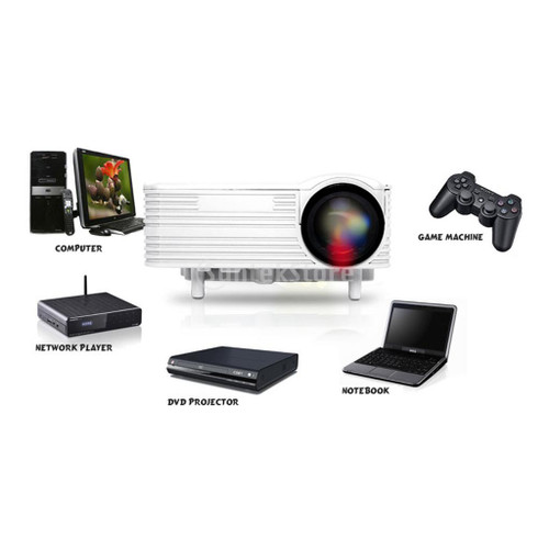 HD 1080P Home Cinema Theater Portable Mini Projector Support USB/SD Card/Smartphone/PC/TV/AV/DVD/VGA/HDMI/Video Game Console