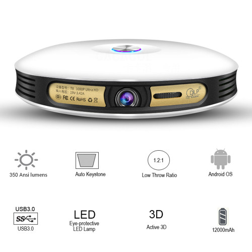 Mini Overhead Projector Portable Android 6.0 3D Wifi Bluetooth DLP LED Full HD 1080P Home Theater Video Beamer Battery