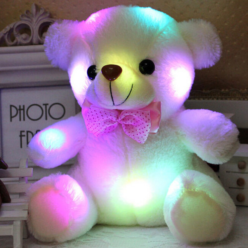Dropshipping 20CM Colorful Glowing Luminous Plush Baby Toys Lighting Stuffed Bear Teddy Bear Lovely Gifts for Kids