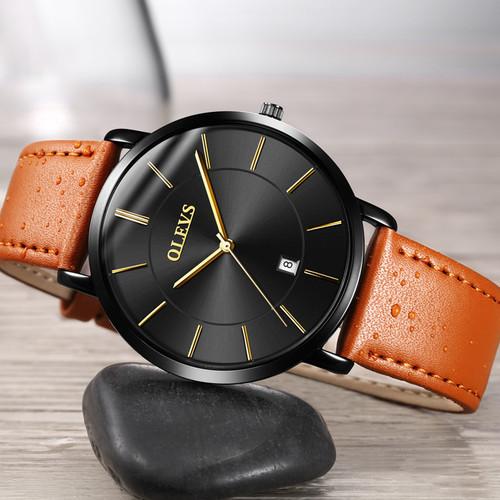 OLEVS Men's Calendar Watches Luxury Brand Water resistant Sports Wristwatch Casual Fashion Leather Ultra thin Watch Quartz Male