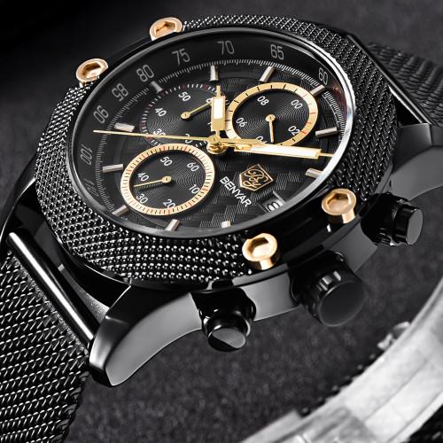 BENYAR Sport Chronograph Fashion Watches Men Mesh & Rubber Band Waterproof Luxury Brand Quartz Watch Gold Saat dropshipping