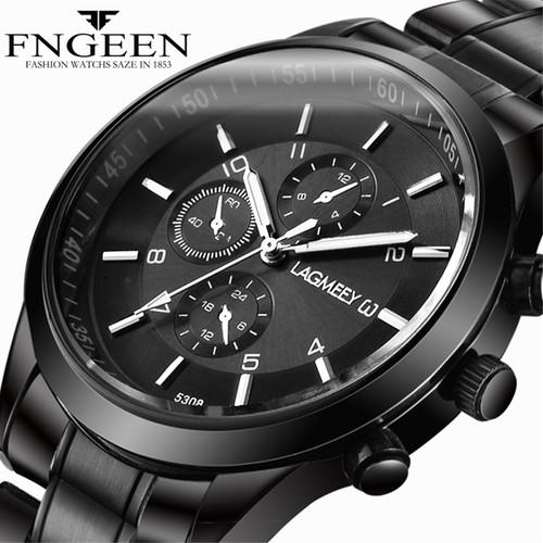 Men Black Metal Watch Business Stainless Steel Wrist Watches Fashion Male Black Watchband Clock Sport Waterproof Relogio