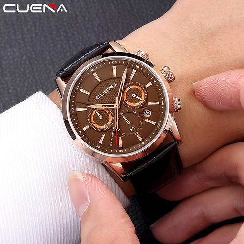 CUENA Brand Fashion Casual Watches Men Watch Genuine Leather Relojes Waterproof Quartz Wristwatches Man Clock Relogio Masculino