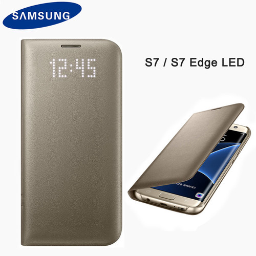 Samsung Original Smart View Flip Wallet Case for Samsung Galaxy S7 G930 Cover LED Leather Matte Shell