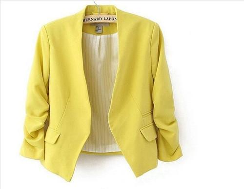 2016 Fashion Basic Jacket Blazer Women Suit Cardigan Puff Sleeve Ladies Autumn Plus Size Brand Coats Casual blazer female