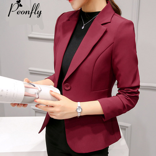 PEONFLY Ladies Blazers 2018 New Fashion Single Button Blazer Women Suit Jacket bule/red Blaser Female Blazer Femme