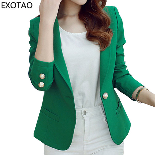 EXOTAO Women's Blazers Winter 2017 New Casacos Mujer Fashion Mini Jackets Female Long Sleeve Notched Jaqueta One Button Manteau