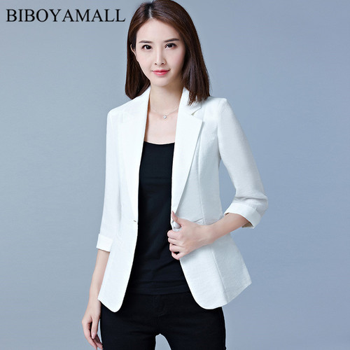 BIBOYAMALL Women Blazer 2017 Summer Slim Top Elegant Breasted Short Design Clothes Blazer Female Women Work Wear Plus size 5XL