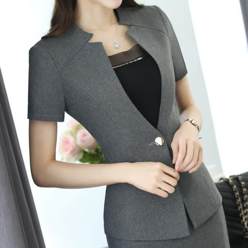 2017 Fashion women Gray blazer Business New summer formal V Neck short sleeve jackets office ladies plus size work wear black