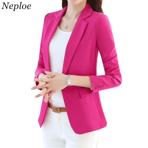 Neploe Plus Size Blazer Solid Coat 2018 Spring Single Button Outwear Women Office Wear Blazers Pure Color Female OL Coats 33822