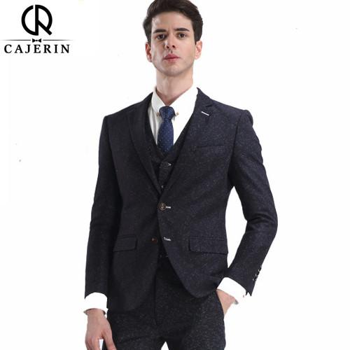 DHL Free Shipping Cajerin Men Clothing Suit Blazer Snow Spots Wedding Business Slim(Jacket+Vest+Pants) Smart Casual Men Suit