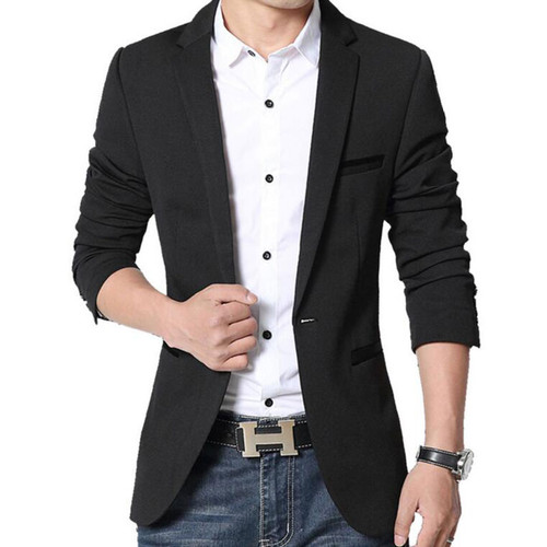 RUMEIAI Mens Korean slim fit fashion cotton blazer Suit Jacket black blue plus size M-5XL Male blazers Mens coat Casual Suits