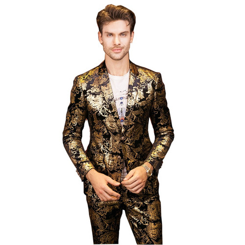 Plyesxale Men Suits For Wedding 2018 Luxury Brand Black Gold Tuxedo Jacket Designer Prom Suits Latest Coat Pant Designs Q303