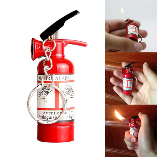 Mini Pendant Type Fire Extinguisher Shaped Metal Cigarette Cigar Lighter Key Chain Refillable NO GAS