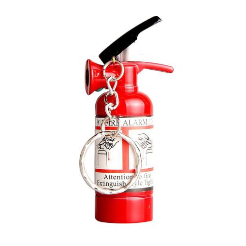 Mini Pendant Type Fire Extinguisher Shaped Metal Cigarette Cigar Lighter Key Chain Refillable NO GAS