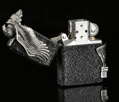 3color zipo brand Halley lighter large side Eagle wings lighter with box
