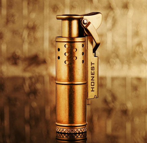 Honest Retro Old Trenches Cigarette Lighter Windproof Copper Kerosene Personality Lighter Creative Nostalgia Gift  With Box