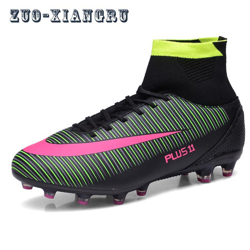 1f8a4c251 Men Soccer Shoes Indoor Futsal Shoes With Socks Professional Trainer TF Football  Boot high ankle Zapatillas