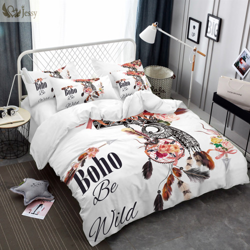 Dreamcatcher Feathers Luxury  Watercolor Bedding Set Bohemian Printed Feather Bed Linens Set Queen King Size Duvet Cover Set