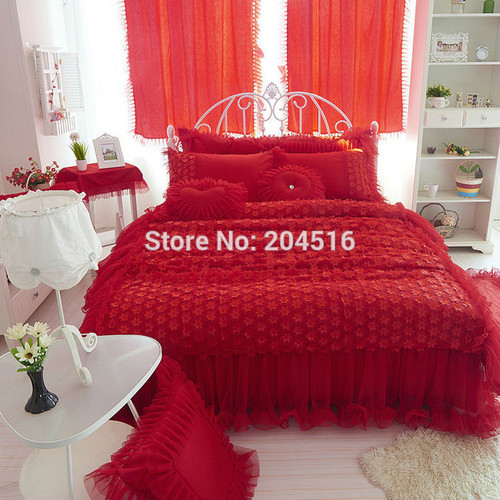 wedding red color luxury lace bedding sets twin full queen king size duvet cover bedskirt Pillow sham 4pc bedclothes set