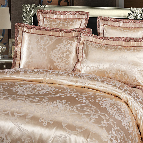 Grey silver gold color cotton satin Luxury bedding set adults king queen size satin duvet cover bed sheet set hometextile