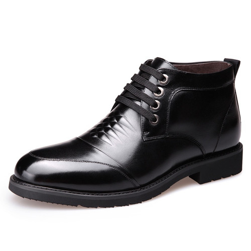 Men Winter Warm Martin Boots Leather High Tops Men's Formal Dress Ankle Boots Thick Anti-skid Plus  Cotton Boots