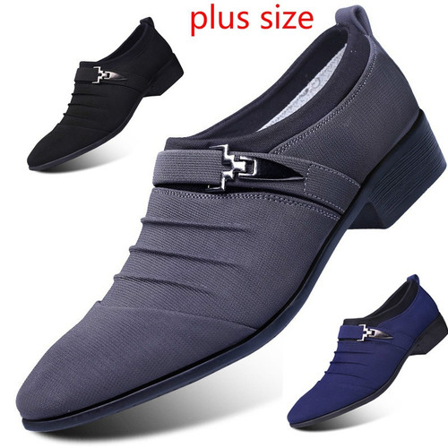 Men Casual Shoes Pointed Toe Leather Shoes Formal Shoes Loafers Canvas Shoes Fashion Business Shoes plus size