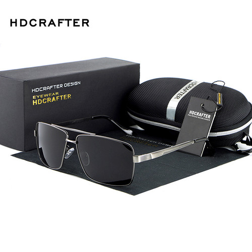 HDCRAFTER rectangle Polarized mens sunglasses brand designer 2017 retro Vintage Eyewear Accessories Sun Glasses For Men shades
