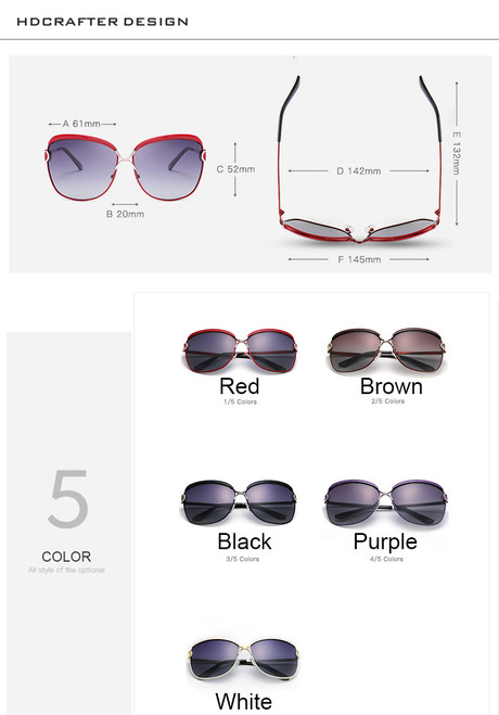 HDCRAFTER Luxury Sunglasses Women 2017 Brand Designer Large Sun Glasses Female Retro Polaroid Eyewear Women UV400 oculos de sol