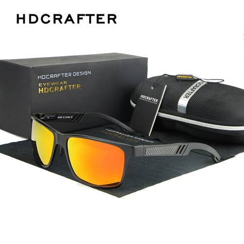 HDCRAFTER Men's Aluminum Polarized Mens Sunglasses Mirror Sun Glasses Square Goggle Eyewear Accessories For Men Female