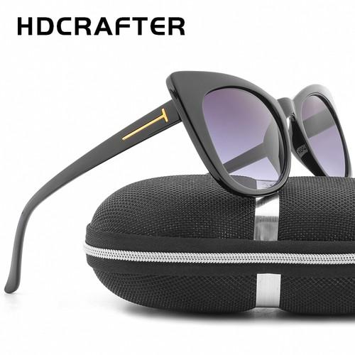 HDCRAFTER Luxury Cat Eye Sunglasses Women Brand Designer Retro Female Sunglasses Points Sun Glasses Ladies Mirror eyewear