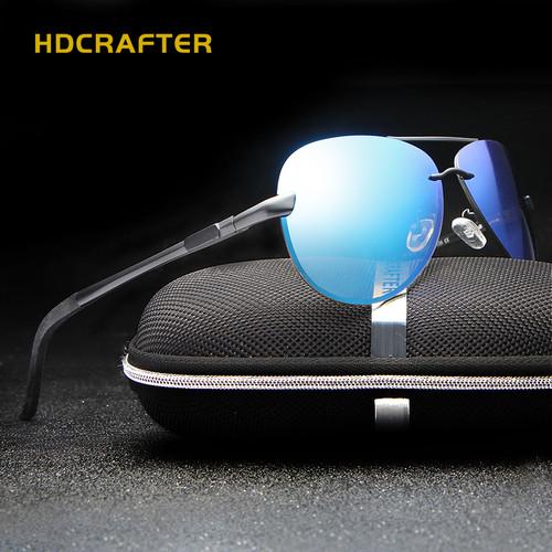 HDCRAFTER Aluminum magnesium polarized aviation Sunglasses men driving sun Glasses vintage oculos de sol
