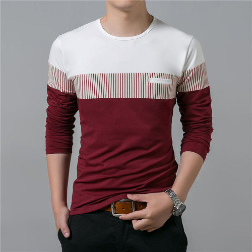 T-Shirt Men 2018 Spring Summer New Long Sleeve O-Neck T Shirt Men Brand Clothing Fashion Patchwork Cotton Tee Tops