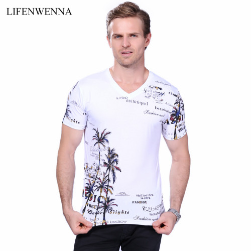 2018 Summer Men's T-shirt New Fashion Coconut Island Printing T Shirt Men V Neck Short Sleeve Slim Fit Casual Mens Tee Shirt 5XL