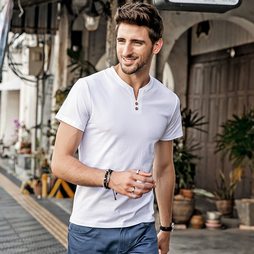 2018 Summer Fashion T-shirt Men Short Sleeve Henry Neck Slim Fit tshirt Male Casual Basic Tee Tops Cotton Brand t shirt for men