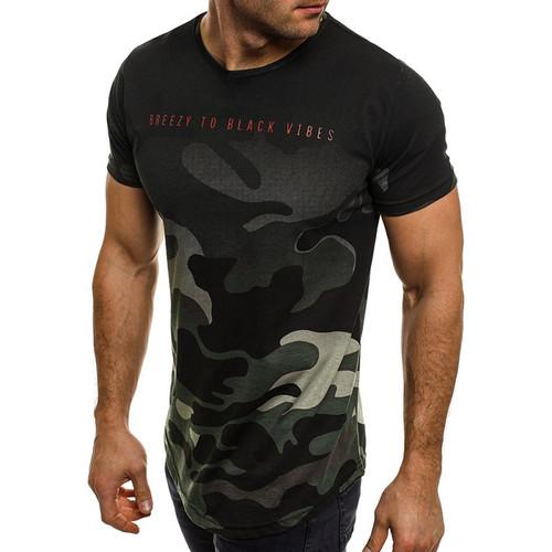Male 2018 Brand Short Sleeve Camouflage Tshirt Slim Men Letter Print T-Shirt Tops Summer Fashion Mens Tee Shirt T Shirts 3XL