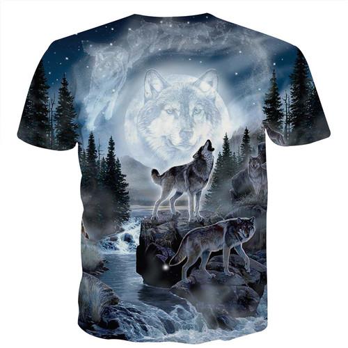 3d t shirt men 2018 New Fashion Men/women 3d t-shirt print forest double snow wolf summer tees shirt tops tees plus size t-shirt