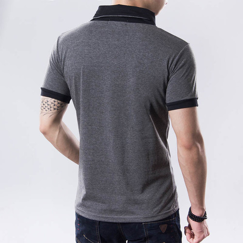 Free shipping 2018 New Mens summer leisure T-shirt fashion slim short sleeve V neck T shirt button decorating Tees / Tops