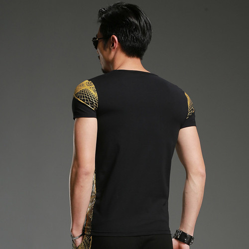 2018 New Fashion men t-shirt youth shirt Luxury men's Bronzing t-shirt summer clothing Brand Camiseta short sleeve 1128